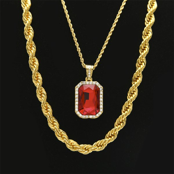 """Men's Hip hop Necklaces Set 30"""" Long Rope Link Chain Necklace With Square Red Blue Rhinestone Crystal Pendant Necklace Set"""
