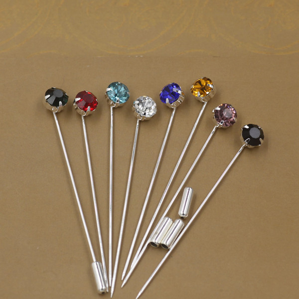 Mixed colors Fashion simple rhinestone lapel pins, metal silver plated crystal stick long brooch pins jewelry for men suit and women bridal