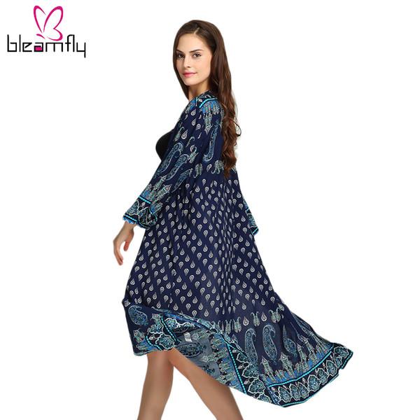 bleamfly_fashion / Verão Long Beach Kimono Cardigan Femme Bohemian Boho Blusa Do Vintage Solto Casual Mulheres Impresso Blusas Camisa Tops Das Senhoras
