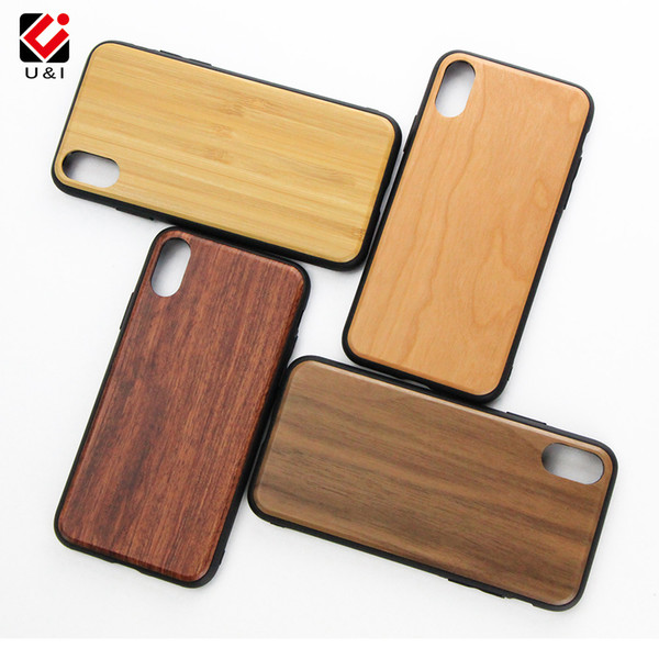 For iPhone X Real Wood Bamboo Case Full TPU Protection Cell Phone Cover Custom U&I blank Wooden For iphone X Factory Price