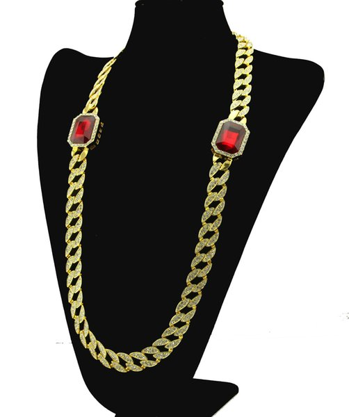 New Icedout Hip Hop Red Rhinestone Necklace Full Stone Miami Cuban Link Chain Necklace Vintage Men Women Jewelry for Party Gift