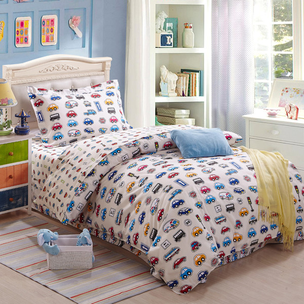 100 cartoon kids Cars bedding sets/kids car twin Single Size quilt cover flat sheet and pillowcase