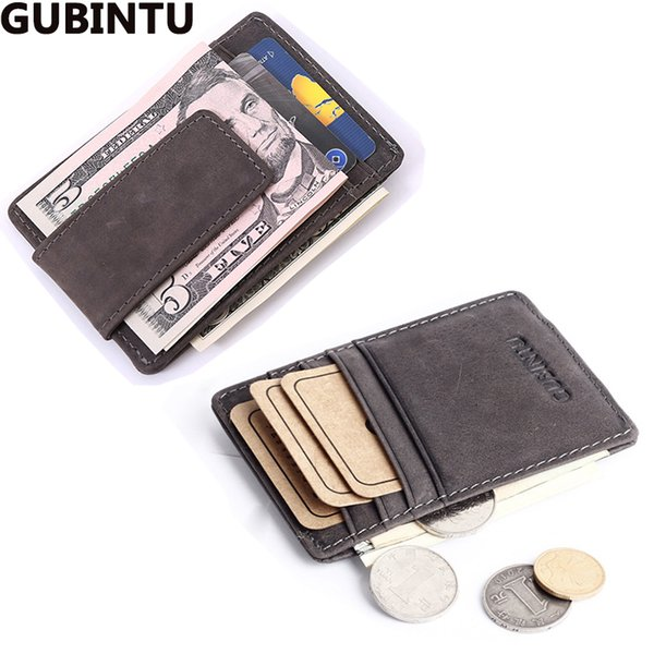 Wholesale- Top Quality men wallets money clip carteira vintage style leather money holder male clamp for money clip purse brand luxury