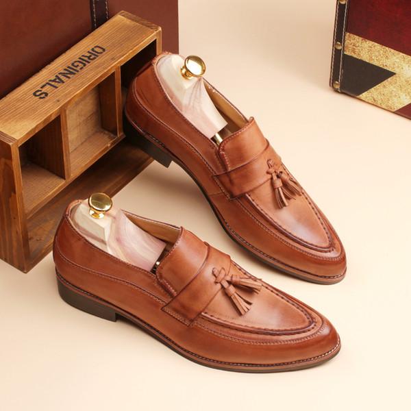Schuhe Loafer Leder Herren Slip On geschnitzten Schuhe