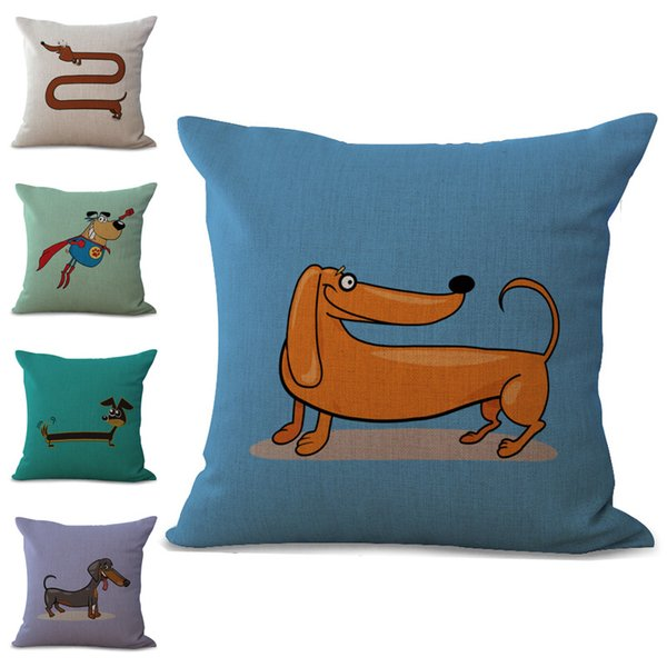 best selling Carton America Dachshunds Sausage Dogs Pillow Case Cushion Cover Linen Cotton Throw Pillowcases Sofa Car Decorative Pillowcover PW644