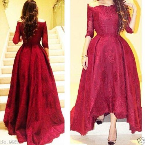 New Formal Evening Dresses Sleeves Boat Neck Sexy Red High Low Prom Dressess 2017 Lace Corset Party Gowns for Women