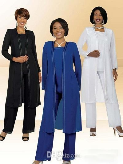 Plus Size Mother Of The Bride Suits 2017 Cheap Pant Moms Formal Gowns Black/White/Blue/Grey Chiffon Long Sleeves Jacket Mother Groom