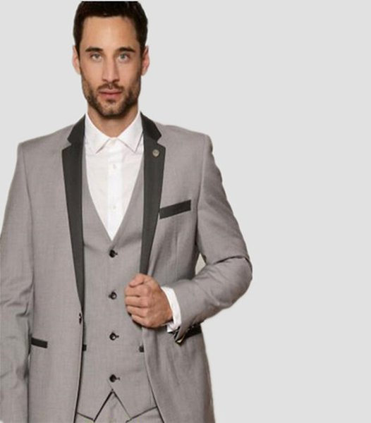 Popular Style formal suits One Button Light Grey Groom suits Tuxedos Groomsmen Men's Wedding Prom Suits (Jacket+Pants+Vest)