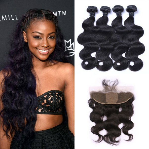 Peruvian Body Wave Silk Lace Frontal Closure With Hair Weave Bundles Natural Black Unprocessed Human Hair G-EASY