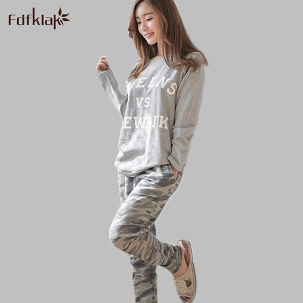 Wholesale- New 2016 Autumn Winter Womens Pajama Sets O-Neck Long Sleeve Women  Sleepwear Pajamas Pyjama Femme Girls Plus Size Pijama M-2XL a8476025b