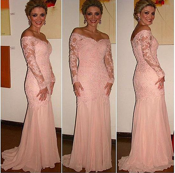 best selling Chiffon Off-the-shoulder Neckline Mermaid Formal Dresses With Beaded Lace Appliques Long Sleeves Blush Sexy Mother of the Bridal Dress
