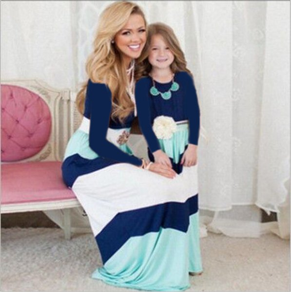best selling Mother Daughter Dresses Fashion Long Sleeve Striped Cotton Family Look Matching Clothes Mom and Daughter Dresses Family Clothing