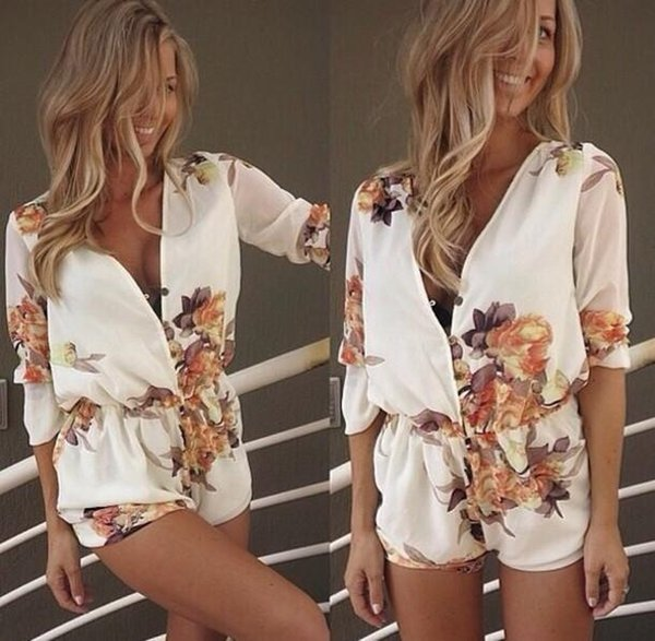 Ladies Clubwear Deep V-Neck Playsuits Bodycon Party Jumpsuit Romper Trousers Pants Womens Clothing Apparel Floral Print Shorts Free Ship DHL