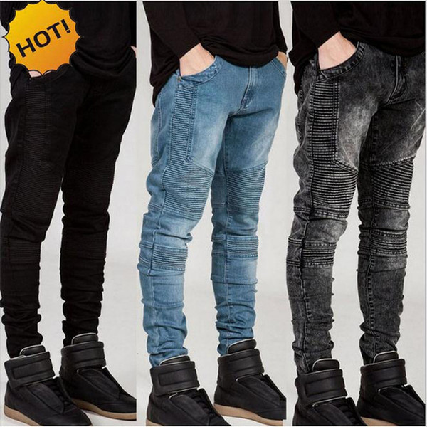 Moda 2017 Hot Stretch Slim Fit pantalones rectos plisados Biker Jeans hombres blancos / de color caqui / negro / gris / azul Bottoms para hombre 28-38