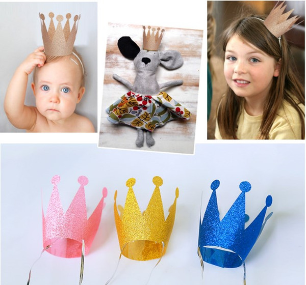 birther party hats Birthday Crown hat party hair accessory prince princess for party decorations adult child crown hat 6pcs/set DHL JH001