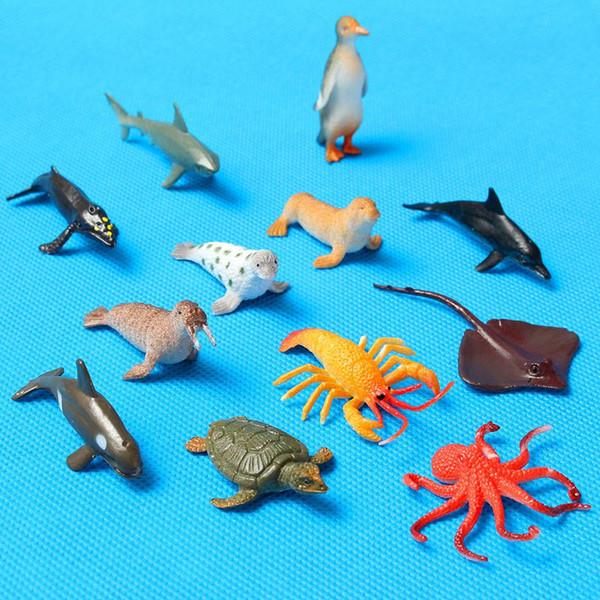 12 teile / satz Kunststoff Marine Tier Modell Spielzeug Figur Ozean Kreaturen Delphin Kinder Spielzeug Beste Modell Geschenk Für Kinder Kinder