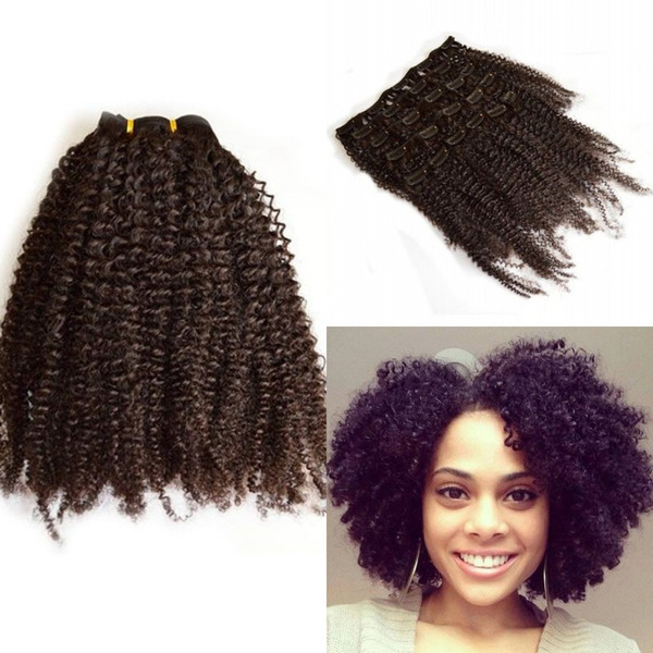 best selling Peruvian Hair Afro Kinky Curly Clip In Human Hair Extension for Black Women 7 Pcs set FDSHINE HAIR