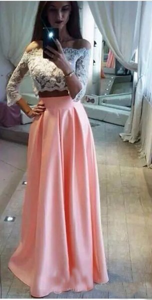 Robe de soiree 2017Two Pieces Blush Chiffon Prom Dresses White Applique Lace Top Floor length Formal Prom Gowns Sexy Off Shoulder
