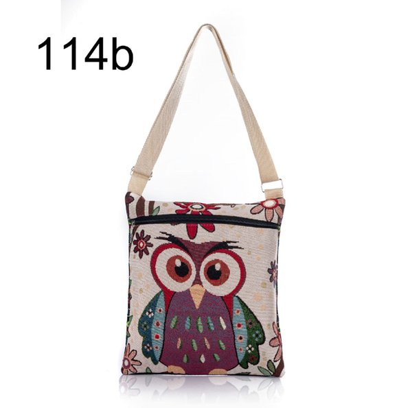 100Pcs 2017 New Zipper Female Mini Flap Shoulder Handbags Cartoon Owl Printed Canvas Bags Women Small Shoulder Messenger Bags