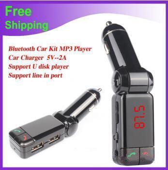 Cargador de coche BC06 Bluetooth cargador de coche BT MP3 BC06 reproductor de mp3 MP4 mini puerto dual transmisor AUX FM
