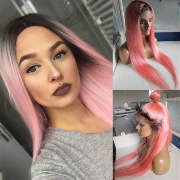 New Fashion Ombre Dark Roots Brazilian Human Hair Silk Straight Pink Full Lace Wig Free Shipping