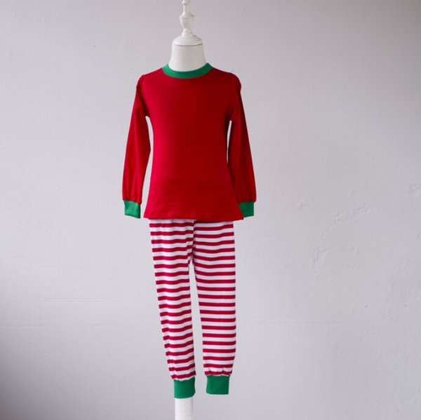 Christmas exquisite children fall winter thermal pajamas baby girl red stripe pant match red green shirt pajamas suits