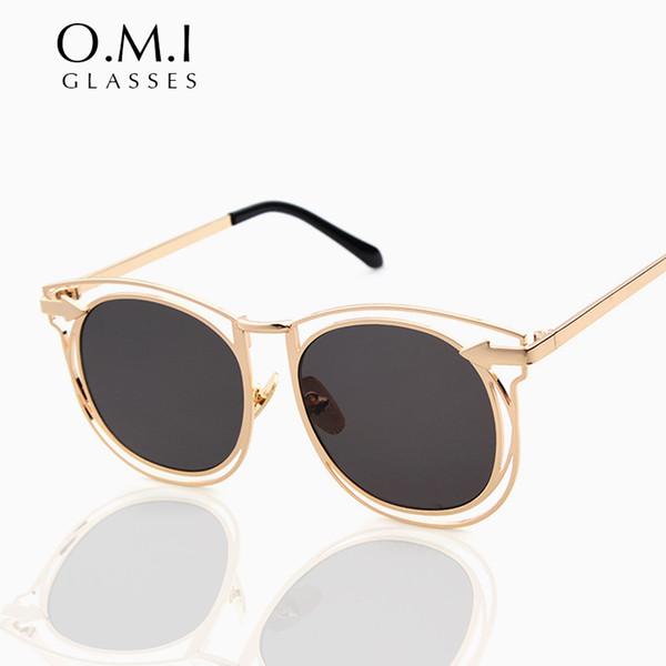 2017 Retro Vintage Women Arrow Round Occhiali da sole Hollow Metal Frame UV400 Occhiali di protezione Black Mirror Lens Eyewear OM83