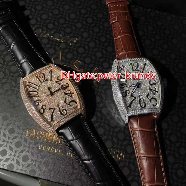 Voller Diamant Eimer Marke automatische Herrenuhr, Edelstahlgehäuse Lederband Original Nadel Schnalle Lupe Kalender
