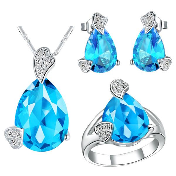 925 Sterling Silver pendant Earrings ring Women Gift word Jewelry sets Plated NEW of custom star pendant ear ring teardrop Zirconium My