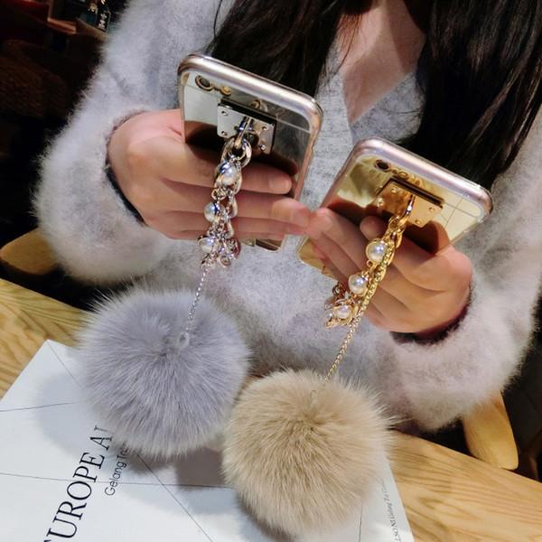 for iphone 5s 6 6s 7 8 plus X Luxury Fashion Cute pearl Chain Tassel fox puff pompoms fur ball soft mirror case cover