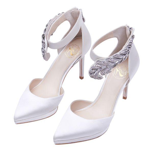 wholesale free shipping hot seller diamond wedding shoe satin pointed high-heeled shoes women heel bride shoe 224