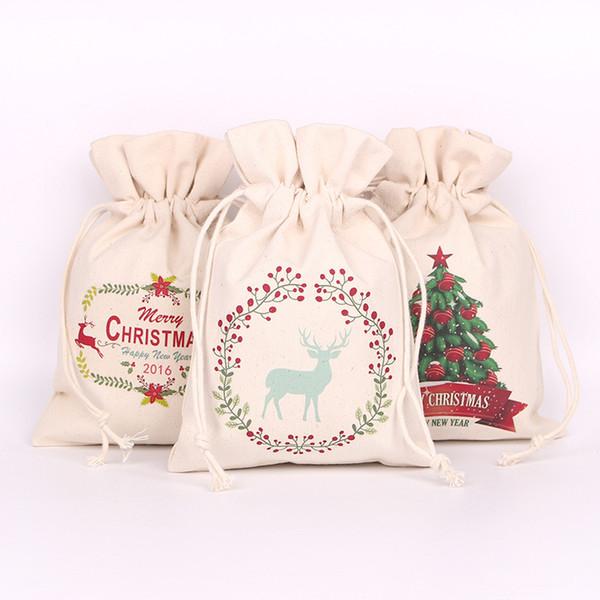 Christmas Canvas Santa Claus Drawstring Bags Xmas Gifts New Hot Santa snowman Christmas decorations candy gift Sack Bags