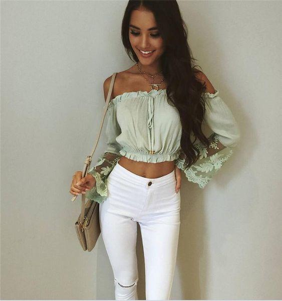 2017032122 sommer bluse frauen slash neck spitze patchwork lange flare sleeve blusas frauen crop tops chiffon shirt feminina