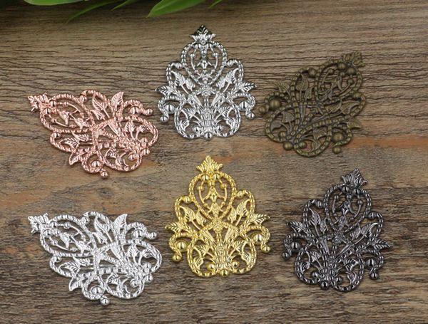 35*48mm antique bronze/silver/rose gold/gun black Copper filigree flower charm for jewelry making, boutique metal bracelet pendants findings