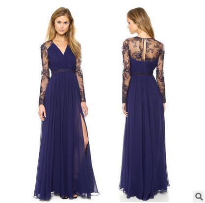 promo code 2083c 57f0d Acquista Abito Elegante Sexy Blu Estate Scollo A V Manica Lunga Pizzo  Aderente Abito Moda Donna Dimagrante Chiffon Maxi Vestito A001 A $15.08 Dal  ...