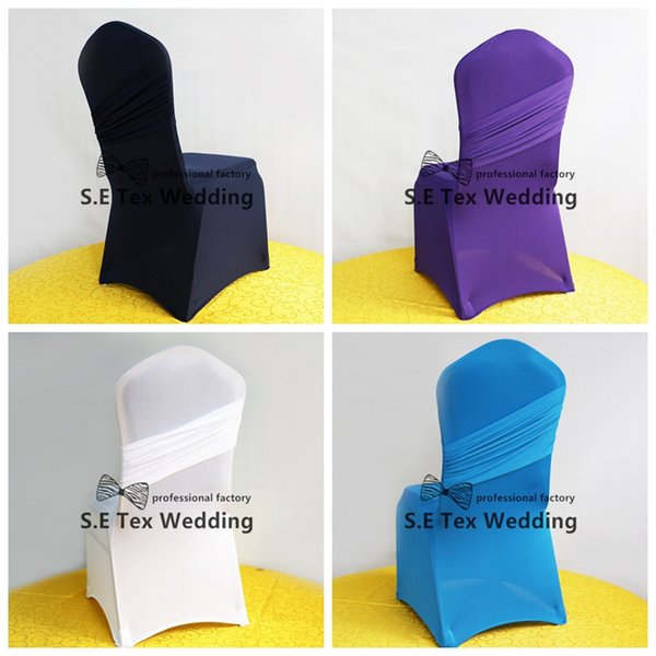 Hot Sale Banquet Wedding Lycra Spandex Chair Cover Back With Swag In High Thick Fabric Free Shipping