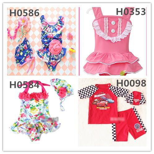 21 Colors Adorable Summer Boys Girls Swimsuits Kids Swim Dress Or Tops+Pants Set Colorful Swimwear Boys Girls Cute Dress Beachwear Whloesale