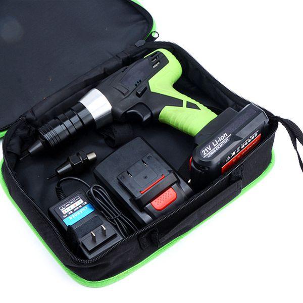 free shipping 21v portable cordless electric rivet gun rechargeable riveter battery riveting tool pull rivet nut tool 2 battery M8/M10 head