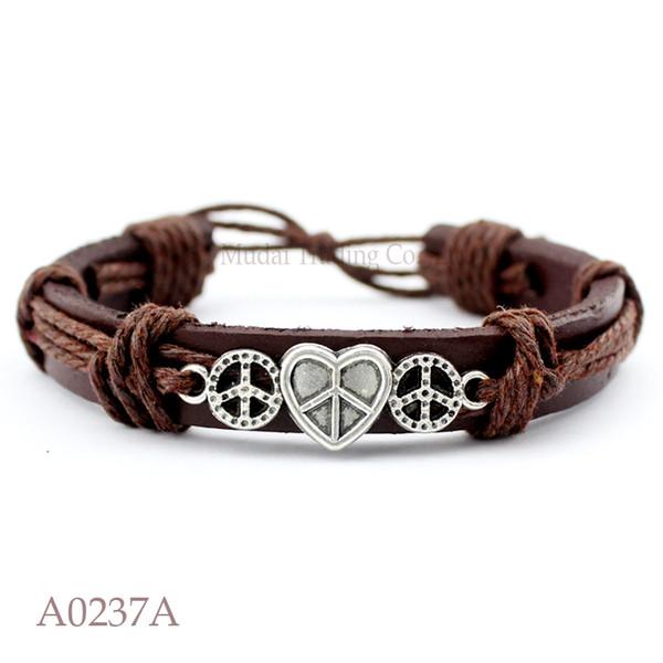 Customizable Antique Silver Heart Peace Sign Charm Adjustable Leather Cuff Bracelet for Men & Women Punk Friendship Jewelry