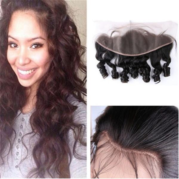 Brazillian Funmi Cabello completo de encaje frontal cierre libre medio 3 parte 13x4 de encaje frontal de onda suelta cabello humano 1pcs / lote
