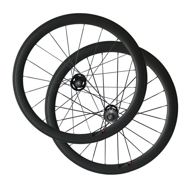 Track Bike Wheels 50 mm Clincher Tubular Full Carbon Wheelset for Fix Gear Bike A165SBT/A166SBT Hub 3k Matte Bike Wheels