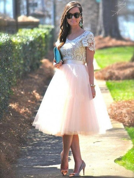 Cheap Prom Party Dresses With Short Sleeves Lace Top Blush Tutu Skirts Tea Length 2017 Formal Prom Graduation Gowns Custom Made