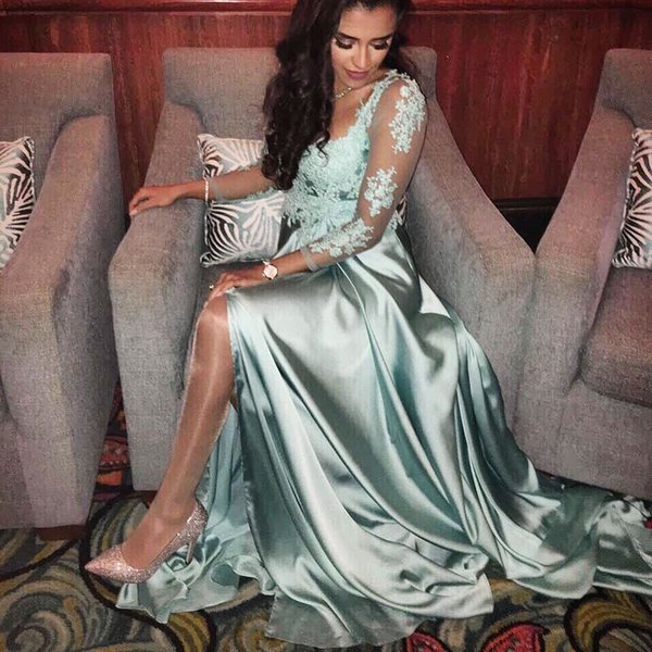 Charming A Line Turquoise Saitn Lace Appliques 3/4 Sleeve Cutout High Splits Prom Dresses 2017 Girls Party Gown Evening Dress