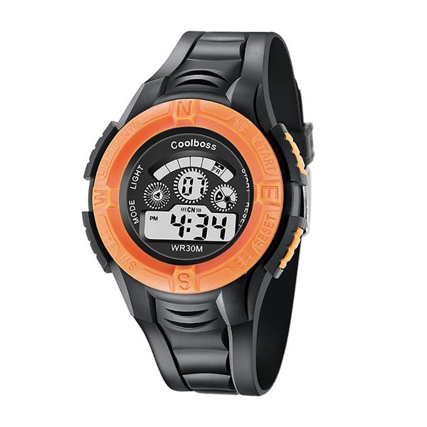 0905Coolboss multifunction children's electronic watches 7 color Luminous alarm clock calendar time unisex sports watches child best gift
