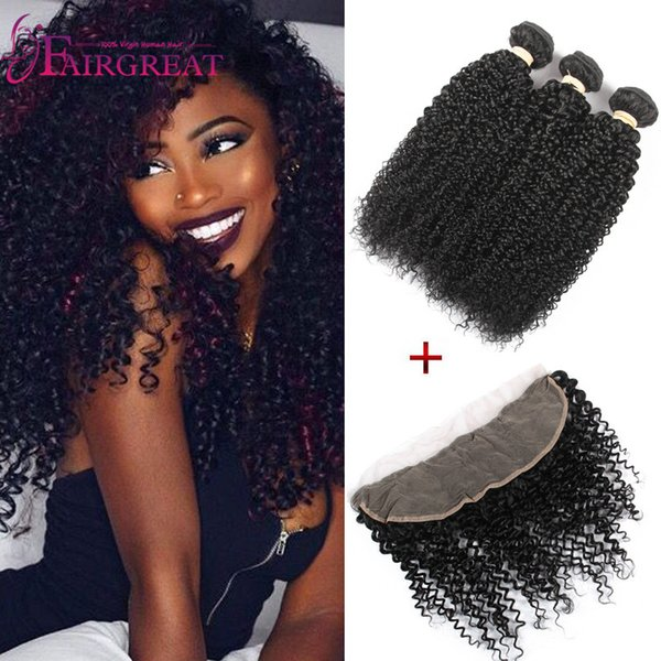 13x4 Size Curly Lace Frontal With Human Hair Bundles Malaysian Kinky Curly Virgin Hair Weave With Lace Frontal Closure Kinky Curly Hair