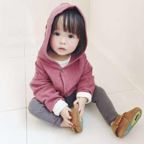best selling Ins explosion models small boy and girl Tong Baobao Cotton Hooded cardigan candy color coat wholesale and retail