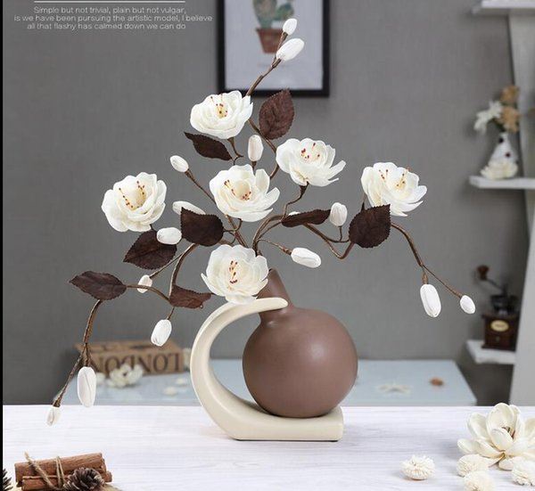 Modern Lucky ball 9 Shapes Ceramic Vase for Home Decor Tabletop this pirce is for a set vase and flowers together
