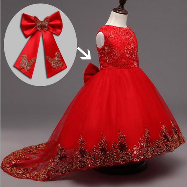 Alta qualità Pearl Butterfly Girl Dress La coda estiva Flower Child Kids Dress Princess Abiti da festa Fashion Red Colors C00218