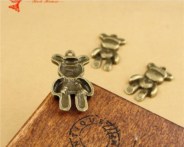 15*29MM Zinc alloy retro bronze heart bears charm lot, Korean metal animal-shaped cartoon jewelry animal pendants, new ZAKKA DIY accessories