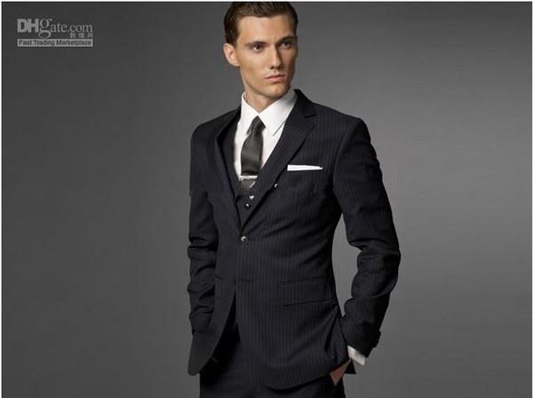 Custom made Men Fashion Business suit Men navy stripe Three-piece Suit ( jacket + pants + vest )